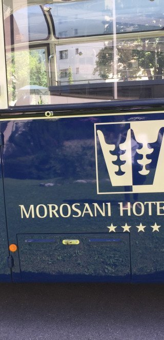 Historic bus of the Morosani Hotel in Davos