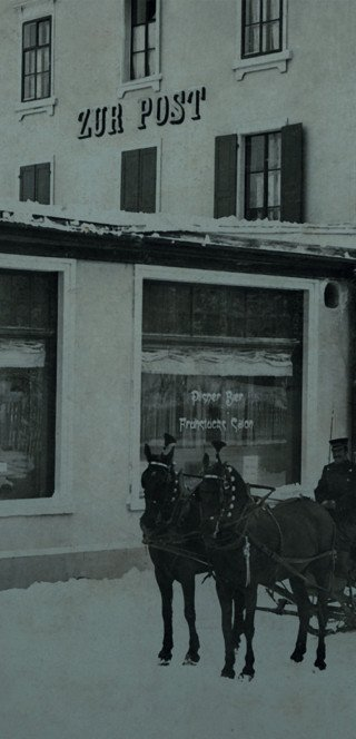 The old facade of the Morosani Posthotel in Davos