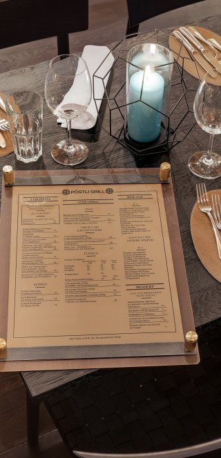 "Menu card of the ""Pöstli Grill"" in Davos"