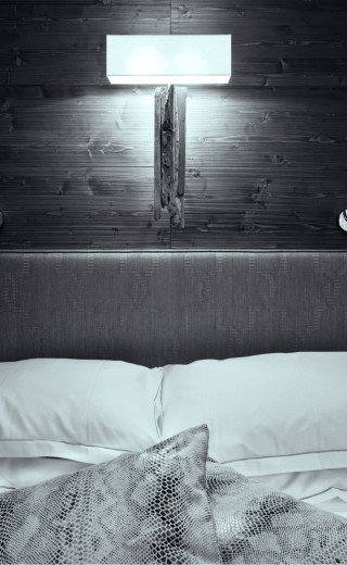 "Double bed at the Morosani ""Fiftyone"" Hotel in Davos"